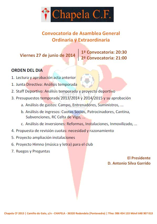 Convocatoria Asamblea General Ordinaria y Extraordinaria